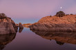Willow Lake Moonrise Reflection Prescott Arizona