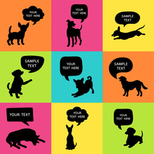 Set Of Cute Dogs Silhouette Wi...