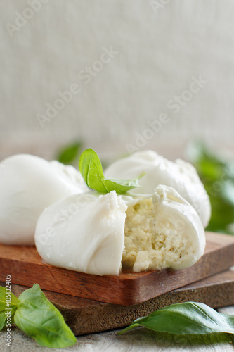 Italian mozzarella cheese stuffed with ricotta and persto