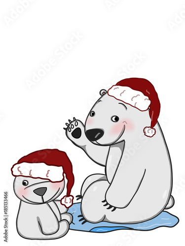 Mother Christmas Cartoon.Cute Mother And Baby Polar Bear Christmas Hat Drawing