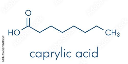 Photo Caprylic (octanoic) acid molecule