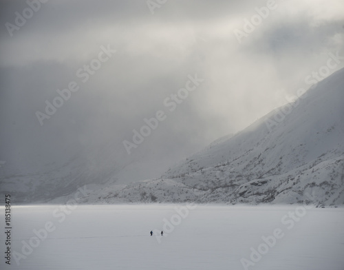 Scenic view of snowcapped mountains during foggy weather