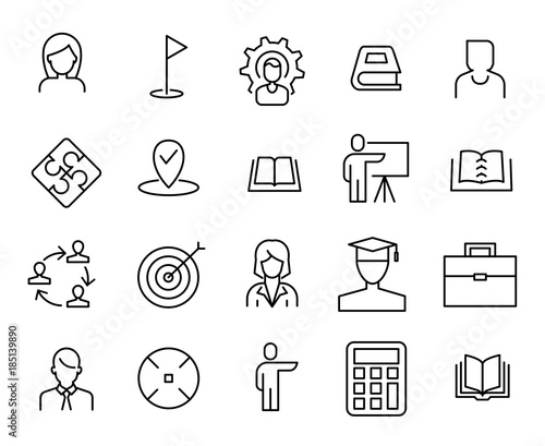Fotografia Simple collection of coaching related line icons.