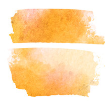 Orange Watercolor Splotch Vector Painted Background