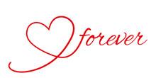 Herz Forever Schriftzug Rot