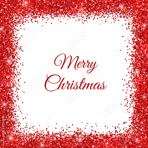 Fototapeta Merry Christmas background with red glitter frame. Vector