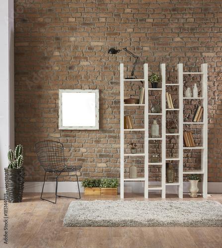 Beautiful Brick Wallpaper Library Room And Bookshelf Buy