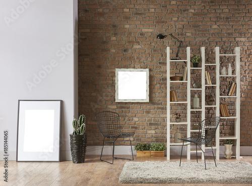 Bookshelf Brick And Stone Wall Background Frame Furniture Design