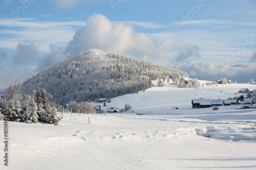 Hill Bukovec and settlement Jizerka in the Jizera Mountains, Czech republic