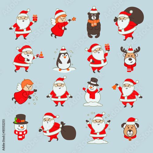 Printed kitchen splashbacks Illustrations Set of Christmas Icons with Santa Claus