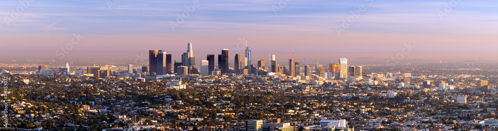 Fototapeta Beautiful Light Los Angeles Downtown City Skyline Urban Metropolis