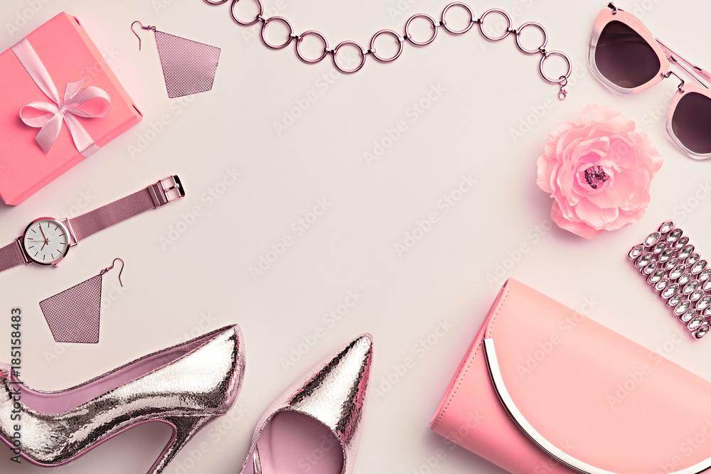Fototapeta Fashion. Woman Accessories Set. Trendy Gold Heels, Watch, Summer Sunglasses, Glamour fashion Yellow Clutch. Flower. Flat lay. Luxury Stylish Spring lady