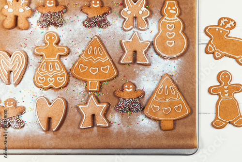 Baking Tray With Gingerbread Cookies On White Wooden Table Buy