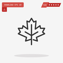 Outline Maple Leaf Icon Isolat...