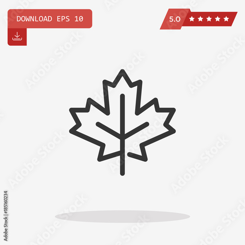 Outline maple leaf icon isolated on grey background. Line autumn