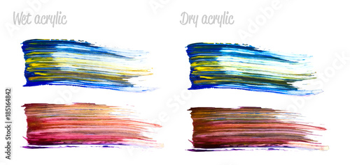 Fototapety, obrazy: Vector colorful paint smear stroke set. Abstract colorful glittering textured art illustration. Wet and Dry Acrylic Texture Paint Illustration. Hand drawn brush strokes vector design elements.