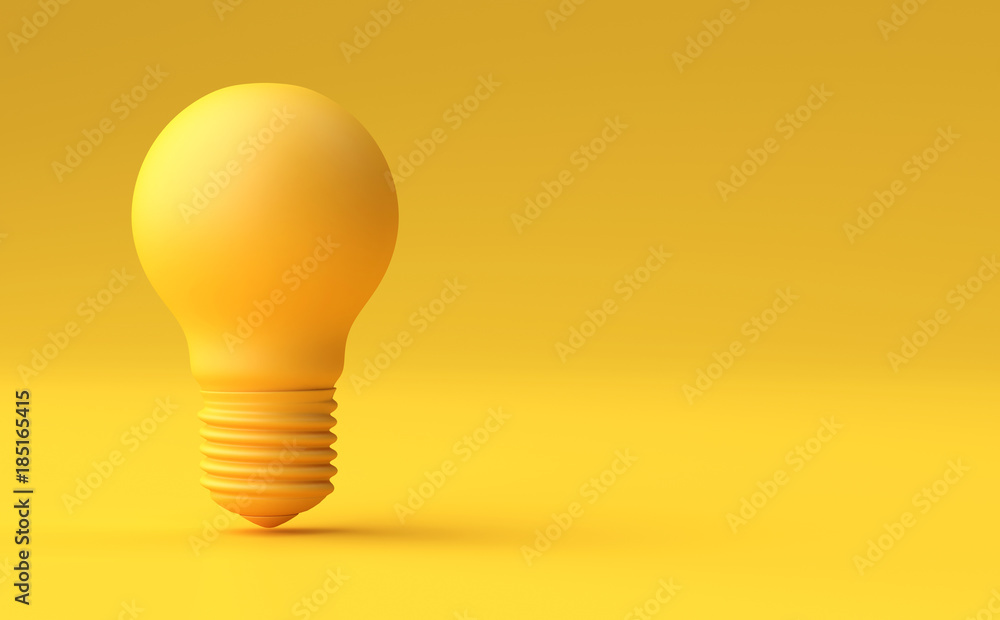 Fototapety, obrazy: Minimal Idea Design Concept Yellow bulb on yellow pastel background.