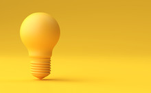 Minimal Idea Design Concept Yellow Bulb On Yellow Pastel Background.