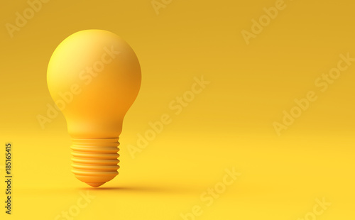 Fotografía  Minimal Idea Design Concept Yellow bulb on yellow pastel background