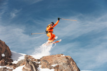 An Athlete Skier Is Jumping Fr...