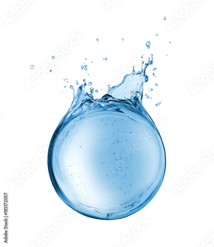 Photo sur Aluminium Eau Abstract reservoir of water in the form of a sphere, isolated on a white background