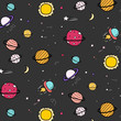 Hand Drawn Space Pattern Background. Vector Illustration.