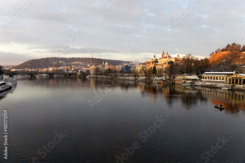Printed kitchen splashbacks Athens Early Morning Christmas snowy Prague Lesser Town with gothic Castle above River Vltava, Czech republic