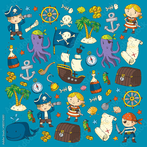 Tuinposter Op straat Pirate adventures Pirate party Kindergarten pirate party for children Adventure, treasure, pirates, octopus, whale, ship Kids drawing vector pattern for banners, leaflets, brochure, invitations