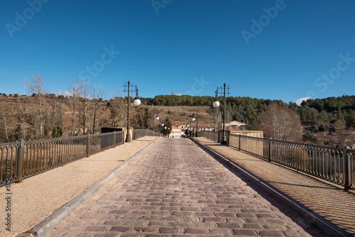 Bridge over Duero river in Soria city, Castilla y Leon, Spain.