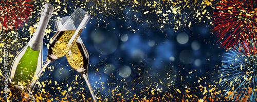 toast champagne new year banner abstract particles background