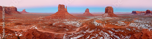 Stampa su Tela Monument Valley covered with snow , desert canyon in USA