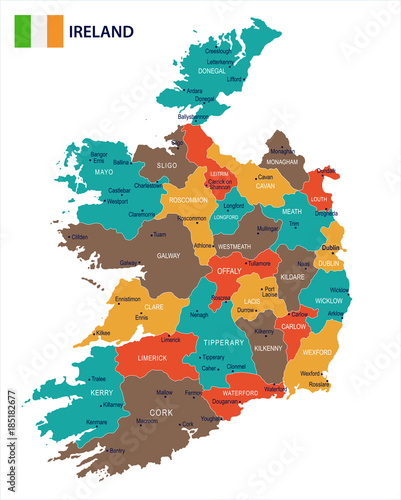 Fotomural Ireland - map and flag Detailed Vector Illustration