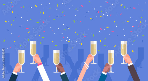 Fotografía  Group Of Business Man Hands Holding Champagne Glasses Success Celebration Concep