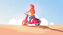 Young Girl Riding Electric Scooter Travel On Vintage Motorcycle Outdoors Over Blue Sky Landscape Flat Vector Illustration