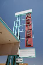 Retro Vintage Neon Motel Sign On Route 66