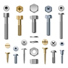 Bolts And Screws. Vector Screw And Bolt, Washer And Nut Hardware Side View Isolated On White Background