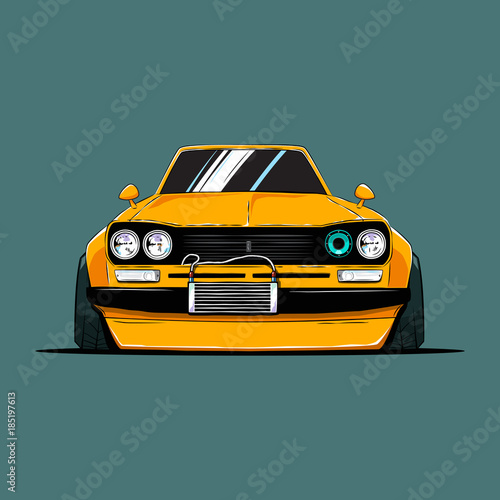 Keuken foto achterwand Cartoon cars Cartoon japan tuned old car. Front view. Vector illustration
