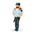 Policeman, in working clothes, with equipment: baton, pistol, handcuffs, walkie-talkie.