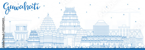 Outline Guwahati India City Skyline with Blue Buildings. Wallpaper Mural