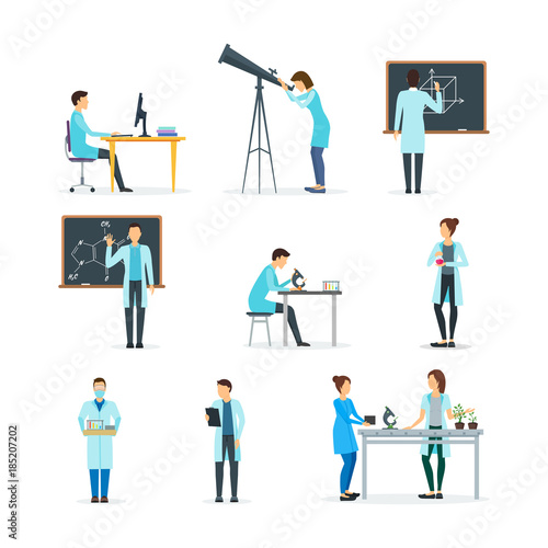 Fotografía  Cartoon Biologists, Chemists and Physicists Set. Vector