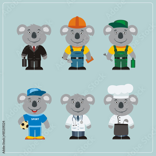 Naklejka premium Set of koala bear in different costumes: builder, sportsman, worker, a doctor, manager, cook. Collection of koala in clothes in cartoon style.