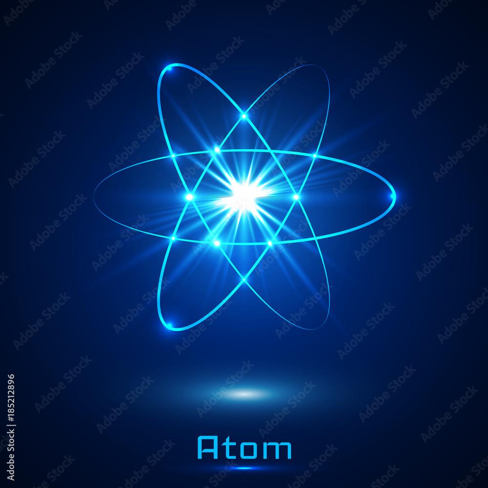 Fototapeta Vector shining neon lights atom model