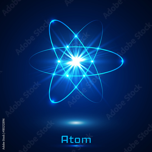 Vector shining neon lights atom model Canvas Print