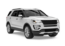 Silver SUV Car Isolated