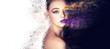 Leinwandbild Motiv portrait fashion model woman creative make up, studio photo