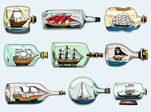 Ship In Bottle Vector Boat In ...