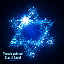 The Six-pointed Star Of David, Shining Blue Magic Vector Star