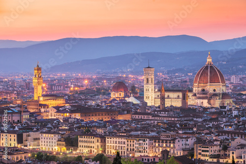 Cathedral Santa Maria del Fiore (Duomo) from above at sunset, Florence