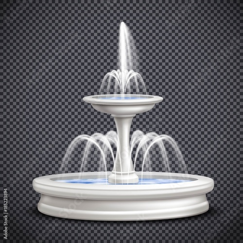Fountains Realistic Isolated Transparent Composition Canvas Print
