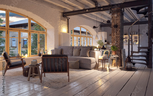 Old Vintage Luxury Loft Apartment Downtown In Candle Light